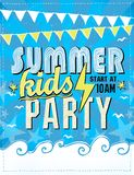 Summer kids party poster design Stock Photography