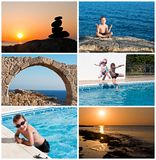 Summer, kids and sea collage. Made of six photos Royalty Free Stock Photo