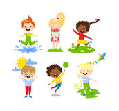 Summer kids vector illustration. Royalty Free Stock Photo