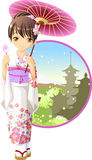 Summer kimono girl. Cute and kawaii summer kimono girl at anime style stock illustration