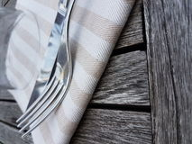 Summer kitchen. Setting the table outside Stock Images