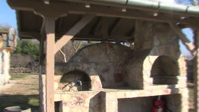 Summer kitchen Vanga in Rupite, Bulgaria, winter. Temple of Saint Petka built Vanga, Bulgarias tourist attractions, a place of pilgrimage for fans in Rupite stock video footage