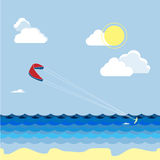 Summer kitesurfing sport. Man skiers on the water, summer vacation. Royalty Free Stock Photography