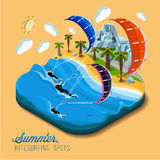 Summer kitesurfing sport. Part of the land to the sea and the mountains,palm trees and people skiers on the water,paradise,summer vacation,sea,ocean,on the Royalty Free Stock Photos