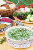Summer kvass soup (okroshka) on served table. With ingredients Stock Image
