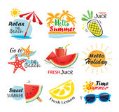 Summer label, banner, tag and elements background set. Vector il. Lustrations for seasonal holiday vector illustration