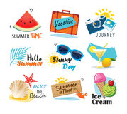Summer label, banner, tag and elements background set. Vector il. Lustrations for seasonal holiday stock illustration