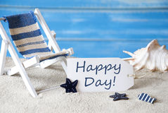 Summer Label With Deck Chair And Text Happy Day Royalty Free Stock Images