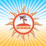 Summer label with palms in sun and rays Stock Image