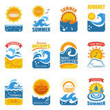 Summer Label Set With Wave And Sun Royalty Free Stock Photography