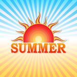 Summer label with sun and rays Royalty Free Stock Photography