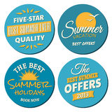 Summer Labels Collection. A set of four labels for the summer season in blue and yellow, isolated on white Royalty Free Stock Image