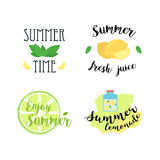 Summer labels, logos, hand drawn tags and elements set for summer holiday, travel, beach vacation, sun. Vector Stock Photo
