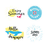 Summer labels, logos, hand drawn tags and elements set for summer holiday, travel, beach vacation, sun. Vector Stock Photos
