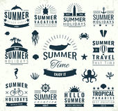 Summer labels, logos, tags and elements set for summer holiday, travel, beach party, vacation. Vector Royalty Free Stock Images