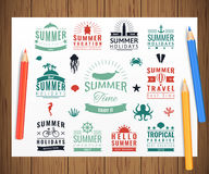 Summer labels, logos, tags and elements set for summer holiday, travel, beach party, vacation. Vector Royalty Free Stock Photography