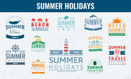Summer labels, logos, tags and elements set for summer holiday, travel, beach party, vacation. Vector Royalty Free Stock Photos