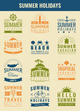 Summer labels, logos, tags and elements set for summer holiday, travel, beach party, vacation. Vector Royalty Free Stock Photo