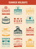 Summer labels, logos, tags and elements set for summer holiday, travel, beach party, vacation. Vector Stock Photos