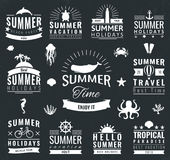 Summer labels, logos, tags and elements set for summer holiday, travel, beach party, vacation. Vector Stock Images
