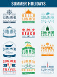 Summer labels, logos, tags and elements set for summer holiday, travel, beach party, vacation. Vector. Illustration Royalty Free Stock Images