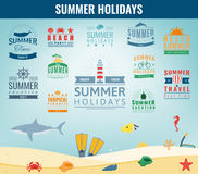 Summer labels, logos, tags and elements set for summer holiday, travel, beach party, vacation. Vector Royalty Free Stock Image
