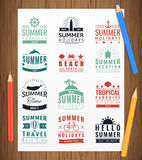 Summer labels, logos, tags and elements set for summer holiday, travel, beach party, vacation. Vector. Illustration Royalty Free Stock Photo