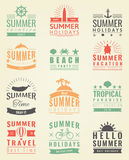 Summer labels, logos, tags and elements set for summer holiday, travel, beach party, vacation. Vector Stock Photography