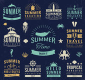 Summer labels, logos, tags and elements set for summer holiday, travel, beach party, vacation. Vector Stock Photo