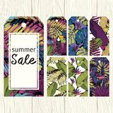 Summer labels for sale. Vector set for printing Stock Image