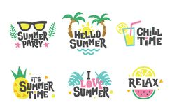 Summer labels, stickers, icons, logo set. Tropical party elements in flat style. Chill, relax, love. Cute holiday badges stock illustration
