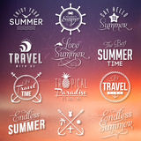 Summer labels. Unset background with labels for summer design stock illustration