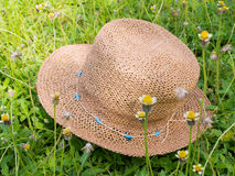 Summer ladies hat in a meadow. Summer ladies hat in a field Royalty Free Stock Photography