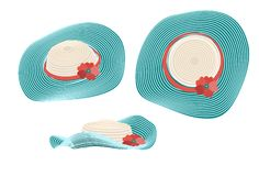 Summer ladies` hat of turquoise color. Panama striped with red poppy flower. Isometric, top view and side view. Vector stock illustration