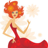 Summer lady. Beautiful happy red-haired lady happy Royalty Free Stock Photos