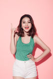 Summer lady. Beautiful asian girl with professional makeup and s Stock Image