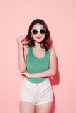 Summer lady. Beautiful asian girl with professional makeup and s Royalty Free Stock Images