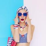Summer lady. Glamorous vintage style. Marine fashion Royalty Free Stock Photo
