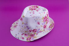 Summer lady hat. A lady hat for summer on a pink background Stock Photos