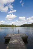 Summer Lake. Swimming pier at a lake in Finland Royalty Free Stock Photography