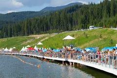 Summer lake of Bukovel , Ukraine. Royalty Free Stock Photo