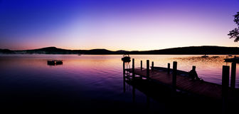 Summer lake dawn panorama Royalty Free Stock Photography