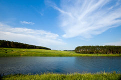 Summer lake and forest view. Stock Photo