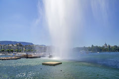 Summer on the lake Geneva (Leman ),in the harbor of  Geneva ,Switzerland Stock Photography