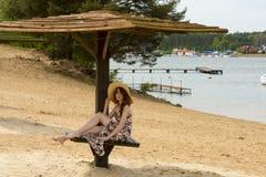 Summer lake girl Stock Photo