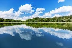 Summer lake landscape. stock photo