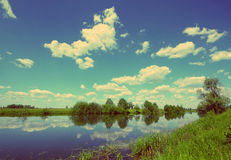 Summer lake landscape - vintage retro style Royalty Free Stock Photos