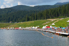 Summer lake panorama of Bukovel resort Stock Image