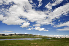 Summer Lake Reflection scenery. Qinghai Lake,which is one of the most beautiful lakes in China, is Reflecting the sky and clouds Royalty Free Stock Photo