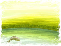 Summer lake scenery royalty free illustration
